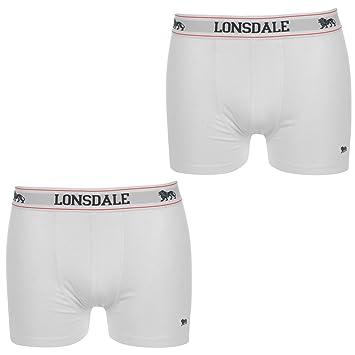Lote de 2 Boxer Calzoncillos Ropa Interior Lonsdale para Hombre blanco (M)