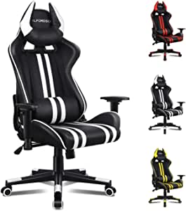 ALFORDSON Gaming Chair Racing Chair Executive Sport Office Chair with 4D Armrest and U-Shape Headrest PU Leather Home Chair (White)