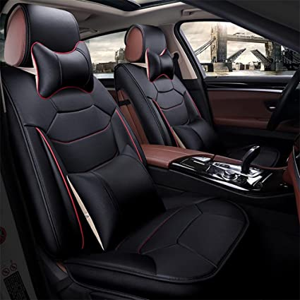 RIRUI Universal Fit Car Seat Covers Easy To Clean PU Leather Cushions 5