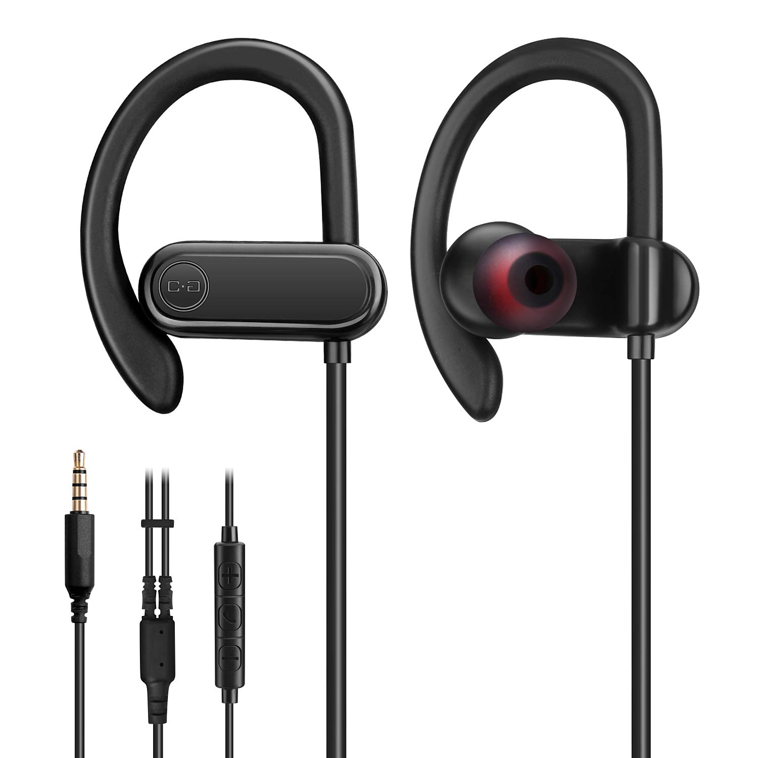 Wired Earbuds with Microphone, Sports Running Headphones NOT Bluetooth with Snug and Stable Ear Hooks, Gym Earphones for Heavy Workout Exercise with 3.5mm Audio Plug for Smartphones
