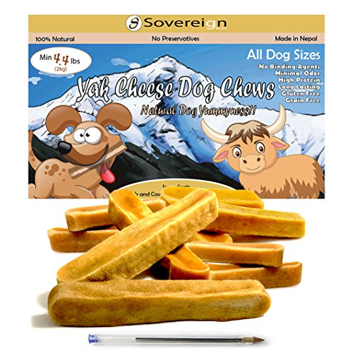 Himalayan Yak Dog Chews - All Natural Churpi Yak Chews - Yak Cheese Snack Treats for Dogs - Puppy Chew From Yak Milk In Himalayan Mountains - Long Lasting Bulk Chews For All Dogs - 4.4lbs 2kg by Sovereign-Gear