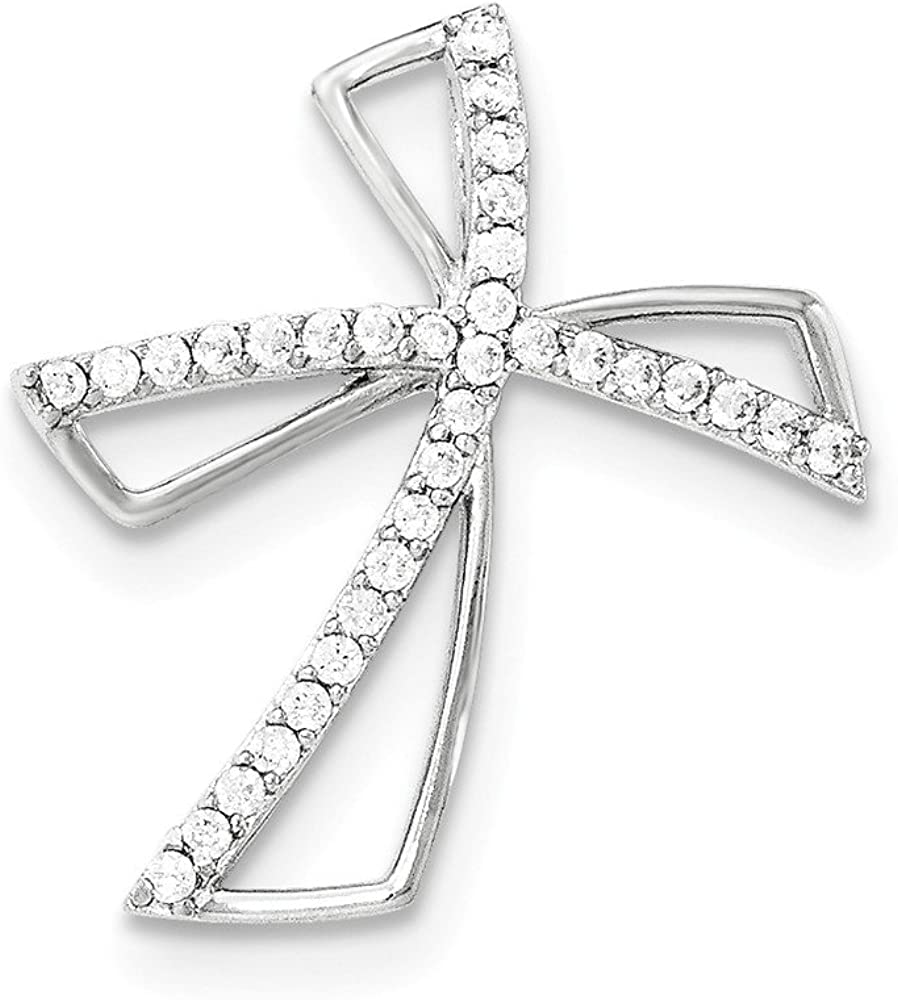 Solid 925 Sterling Silver CZ Cubic Zirconia Cross Chain Slide Pendant Charm
