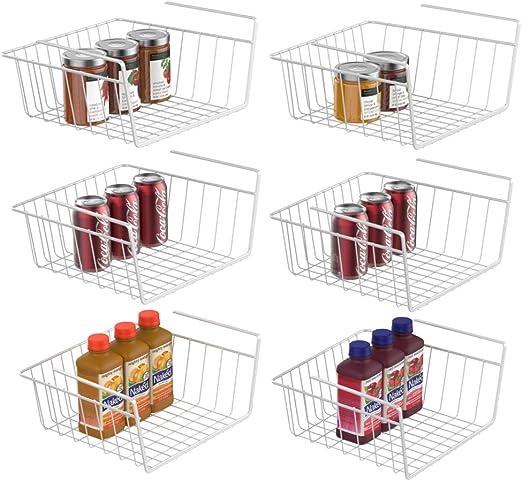 iSPECLE 6 Pack Black Wire Rack Easy to Install Under Shelf Basket Wire Basket Under Shelf for Storage