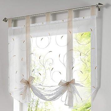 Dofilachy Stickerei Blumen Transparent Gardine Vorhang Raffgardinen Raffrollo Schlaufenschal Deko für Wohnzimmer Schlafzimmer