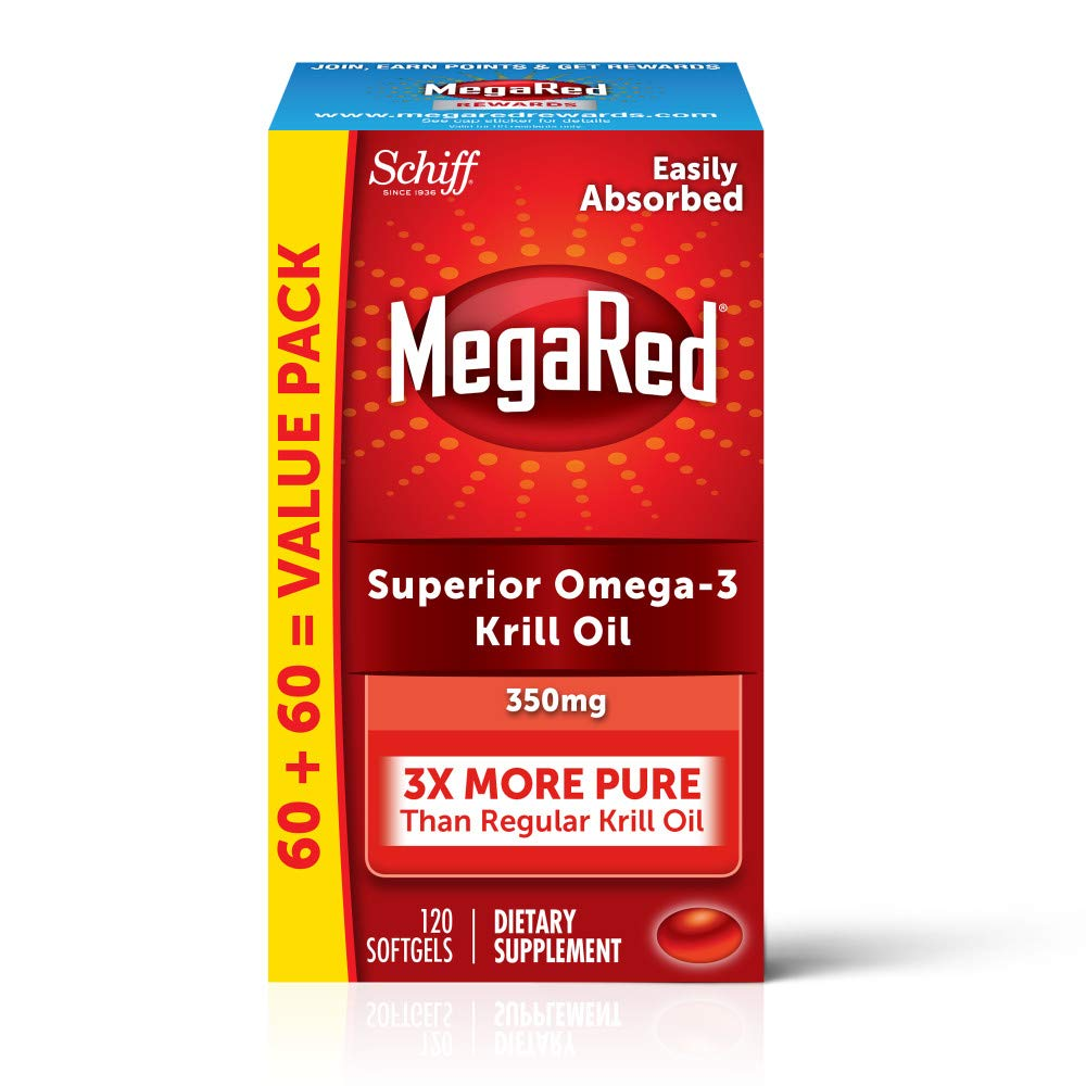 Omega-3 Krill Oil 350mg Softgels, MegaRed (120 count in a bottle), EPA & DHA Omega-3 Fatty Acids With No Fishy Aftertaste Unlike Fish Oil, Contains Antioxidant Astaxanthin by Megared