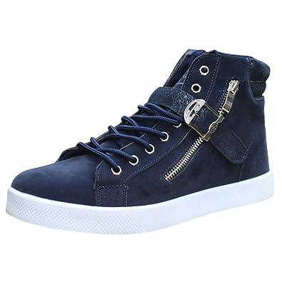 bd3c75195c0be4 wealsex Basket Suede Montantes Homme Boucle Lacets Fermeture Eclair Sneakers  Hautes Chaussure Casual Mode Confort Grand