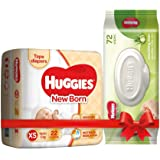 Huggies New Born Taped Diapers (22 Counts) & Huggies Cucumber and Aloe Vera Baby Wipes (72 Count)