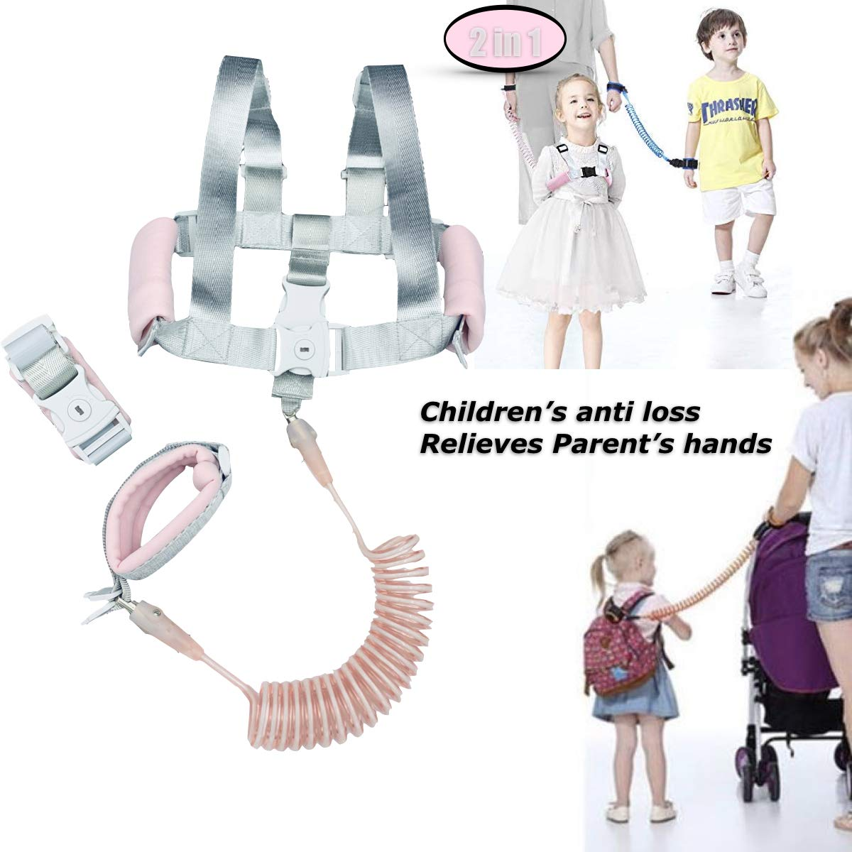 Anti Lost Wrist Link - 2 in 1 Baby Toddler Leash Child Kid Walking Harness Pink