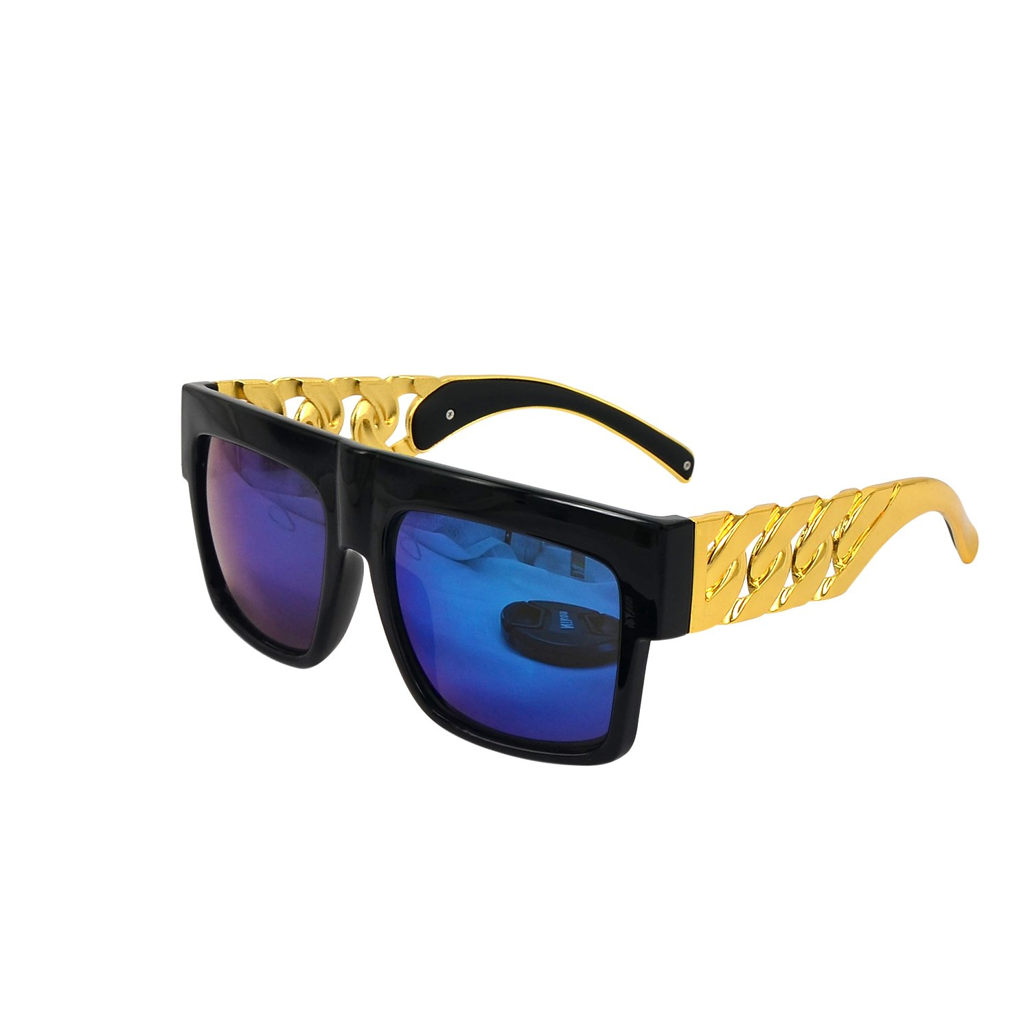 Thick Gold Metal Link Chain Sunglasses Shinny Black with Blue Reflective Lens