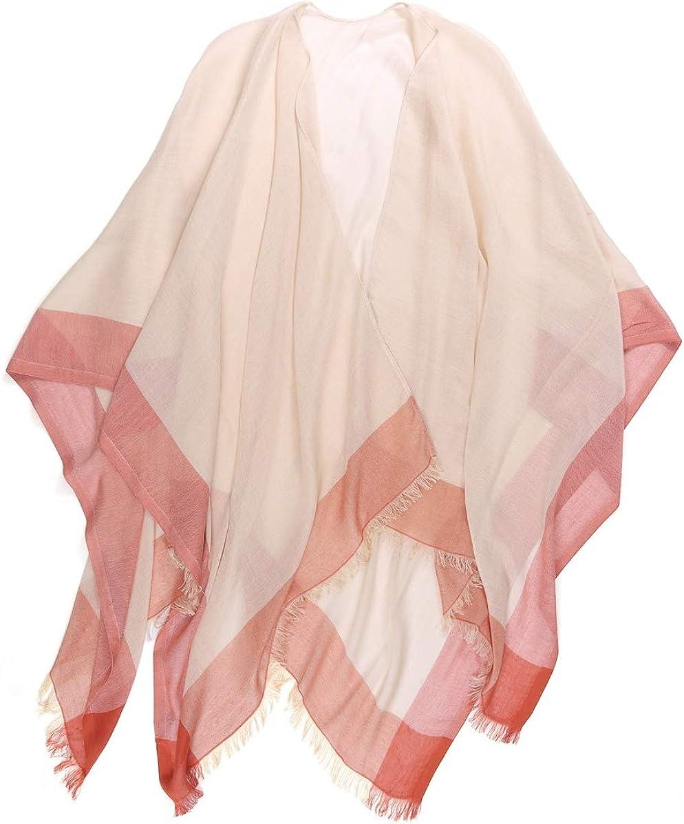 prettystern 100/% cachemire uni-couleur poncho /étole /écharpe pour les femmes chaudes c/âlin doux avec des boutons