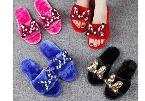 Beauqueen Flip Flop & Thongs Chaussons Sequins Broderie Bow Tie Peluche Famille Femmes Pantoufles , red sequin embroidery knot plush word drag , 40