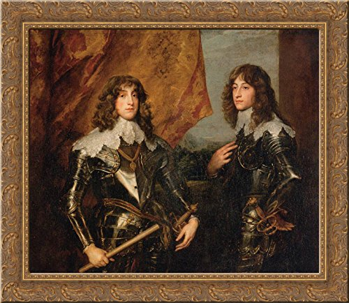 Prince Palatine - Portrait of the Princes Palatine Charles Louis I and his Brother Robert 24x20 Gold Ornate Wood Framed Canvas Art by Anthony van Dyck