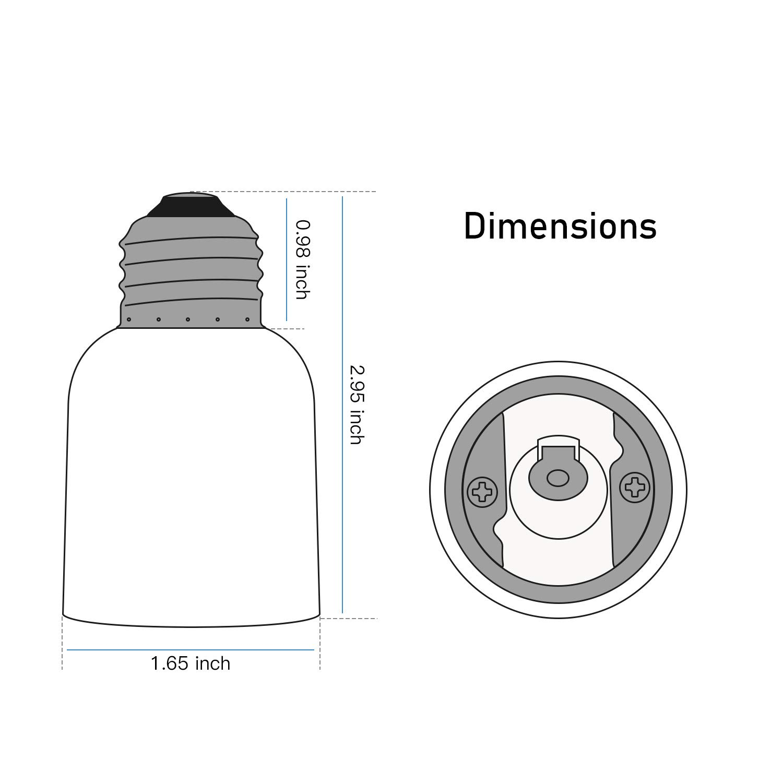3-Pack E26//E27 to E39//E40 Adapter JACKYLED Medium Light Bulb Lamp Socket Converter Max Watt 660W JK124-E27//E39-3Pcs E26//E27 to Mogul E39//E40