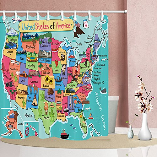 NYMB Kids Map Of The United States Bath Curtain Cartoon Fun Facts