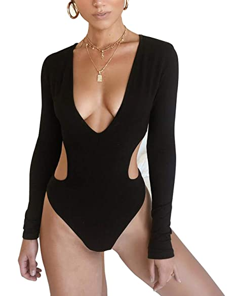 e07ee8ae429 FIZUOXVE Women Rashguard Sexy Deep V Neck Cutout Long Sleeve One Piece  Swimsuit Swimwear Bathing Suit