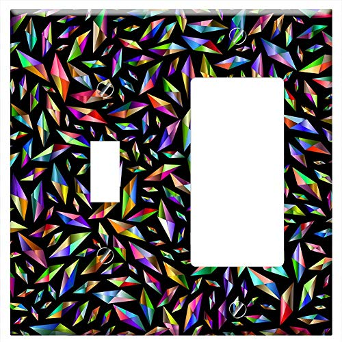(1-Toggle 1-Rocker/GFCI Combination Wall Plate Cover - Diamonds Background Wallpaper Abstract Geomet )