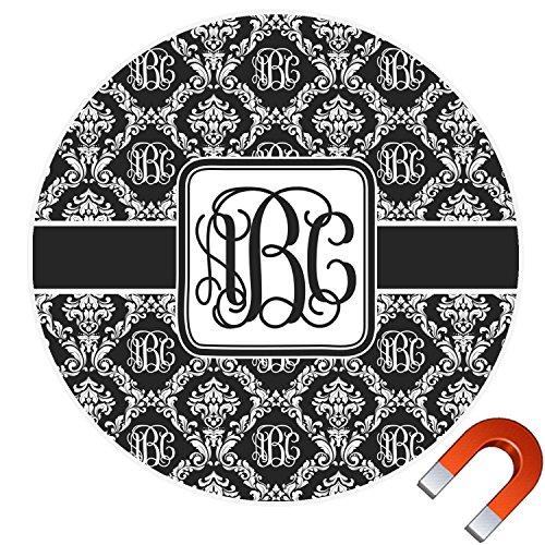 Damask Magnet (Monogrammed Damask Round Car Magnet - 6