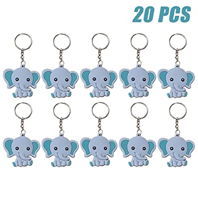 Finduat 20 Pcs Blue Baby Elephant Keychains for Elephant Theme Party Favors Pendant, Boys Birthday Party Supplies, Baby Shower Boy Party Favors for Kid Toy Ornament Souvenirs: Office Products
