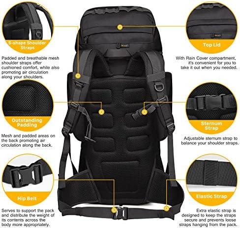 Mardingtop Hiking Backpack,60L Travel Backpack Trekking Rucksack Mountaineering Backpack with Rain Cover YKK Zipper for Outdoor Sport