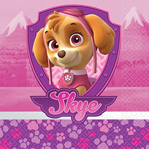 Girl Pups Paw Patrol 16 Pack Beverage Dessert Napkins Birthday Party Supplies Skye & -