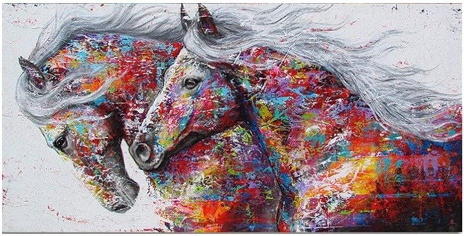 Hlyp Dos Caballos Galopantes La Lona De Arte, Sala Mural Cuadro Moderno del Arte Abstracto Cartel De La Impresión (Size : 50X100CM NO Frame)
