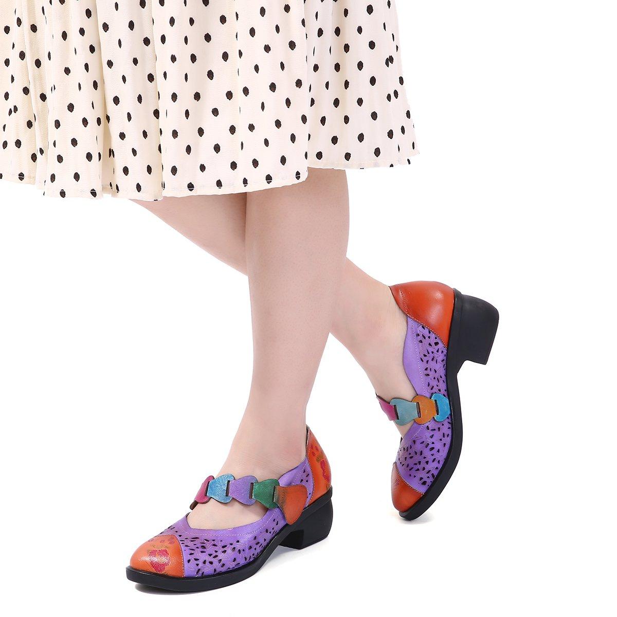 gracosy Merceditas Zapatos Plana Para Mujer de Bombas de Cuero ...