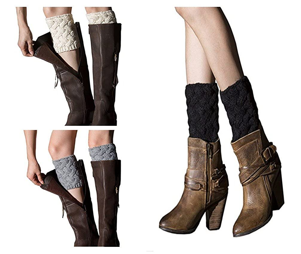 Esenfa Warm Knitting Leg Warmers Boot Toppers Boot Cuffs For Women 3 Pairs Pack
