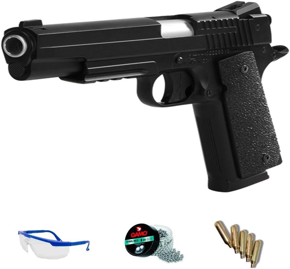 PACK pistola de aire comprimido KWC 1911 - Arma de CO2 y balines BBs (perdigones de acero) FULL METAL <3,5J