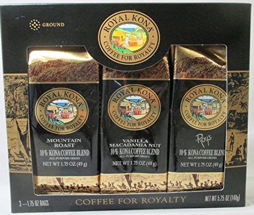 Majestic Kona Single Pot Ground Coffee with Mountain Roast, Pacific Roast, Vanilla Macadamia Nut (3 X 1.75 Oz., 49g)