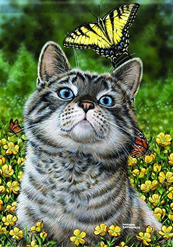 Carson Home Accents Flagtrends Classic Garden Flag, Buttercup (Buttercup Cat)