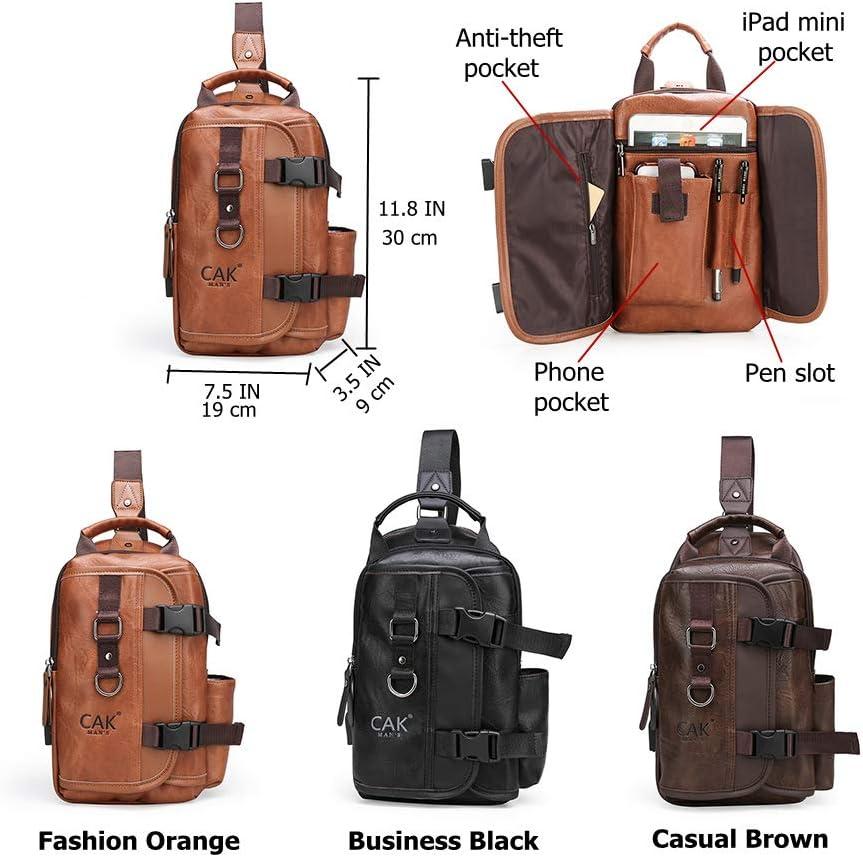 CAK Sling Bag Backpack Crossbody Bags for iPad Outdoor Hiking For Men(Orange)