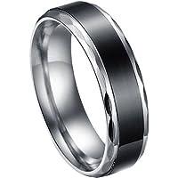 JewelryWe ジュエリー ファッション アクセサリー メンズ リング 指輪, クラシック シンプル,ステンレス, カラー:ブラック; シルバー(銀);[ギフトバッグを提供] - [20号]
