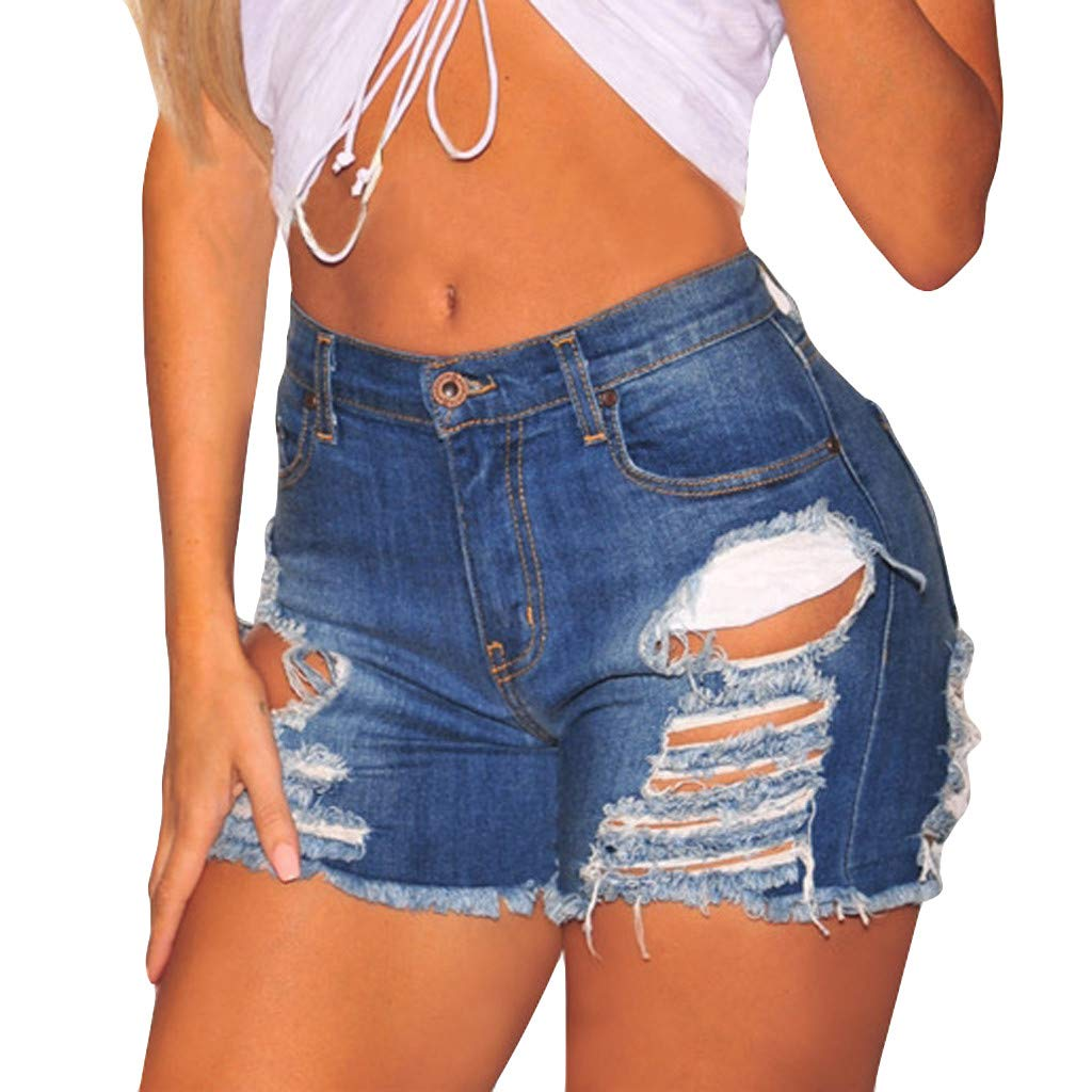 FRAUIT Damen Loch Jeansshorts Skinny Schwarz Blau Denim Kurze Hosen Verband Freizeit Shorts Mode Elegant Wundersch/ön Streetwear Atmungsaktiv Weich Bequem Hot Pants