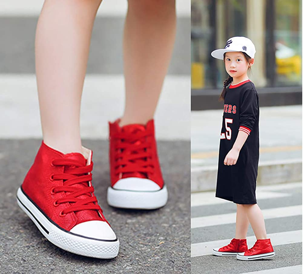 Toddler//Little Kid Aiminila Boys Girls Kids Lace Up Side Zipper High Top Canvas Shoes Sneakers