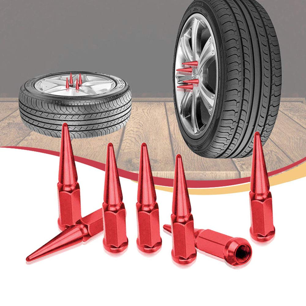 CA Supplies 24PCs 14x1.5 Spike RED Solid Steel Lug Nuts 4.5 INCHES Tall with Key