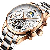 Luxury Automatic Mechanical Watch for Men, Waterproof Wrist Watch Full Stainless Steel Watch Self-Wind Fashion Wristwatches, Luminous Dial, Week Display, Outdoor, Business Style, Gifts