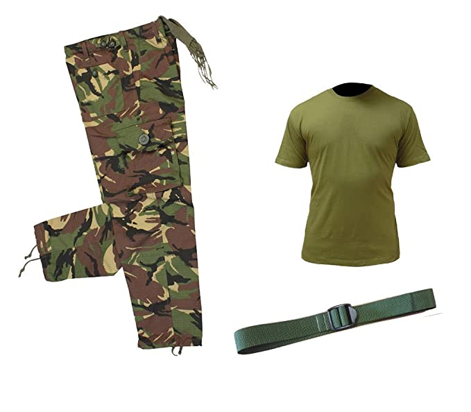 e48ec0695 Kids pack 1 Army camo dpm trousers and t-shirt unisex outfit + BELT:  Amazon.co.uk: Clothing