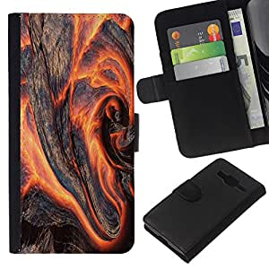 Stuss Case / Funda Carcasa PU de Cuero - Madera Flaming - Samsung Galaxy Core Prime