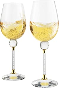 Rhinestone DIAMOND Studded Wine Glasses 16 Ounces Set of 2 10-inches Tall by The Wine Savant, Gold and Laser Cut Sparkling Wine Wedding Glasses, Elegant Crystal - For Everyday, Weddings, Parties