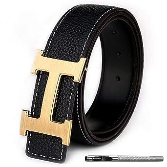 Men's Geniune Leather Belt Slide Metal Buckle by Xinwu