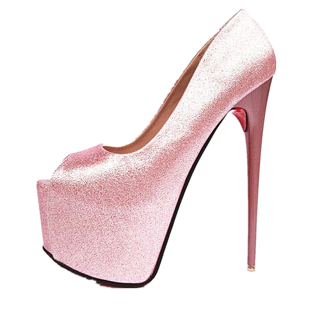 79597f5d07 Amazon.com   pit4tk Women's Round Toe Super High Heel Platform Stiletto  Slip On Pumps for Wedding Party Shoes   Pumps