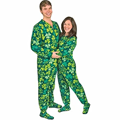 Shamrocks & Clovers Drop Seat Footed Pajamas, 5
