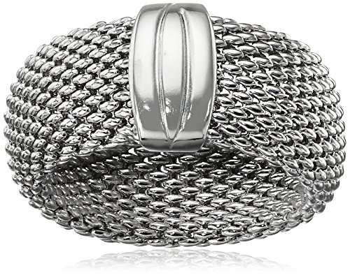 Silver Flexible Mesh Sterling Ring - Sterling Silver Italian Rhodium Plated Flexible Mesh Ring, Size 8