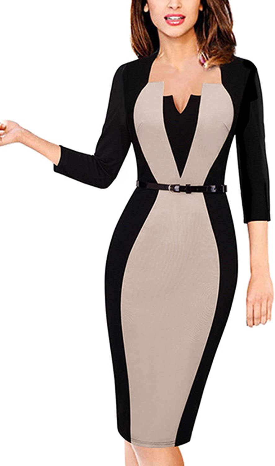 MisShow Damen V Ausschnitt Business Kleid Partykleid Pencil Etuikleider  Strecken Tunika Gr.S-15XL