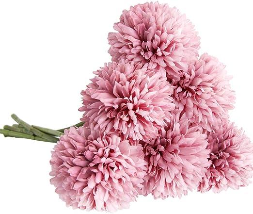 CQURE Artificial Flowers Pink Champagne Fake Flowers Silk Plastic Artificial Hydrangea 6 Heads Bridal Wedding Bouquet for Home Garden Party Wedding Decoration 6Pcs