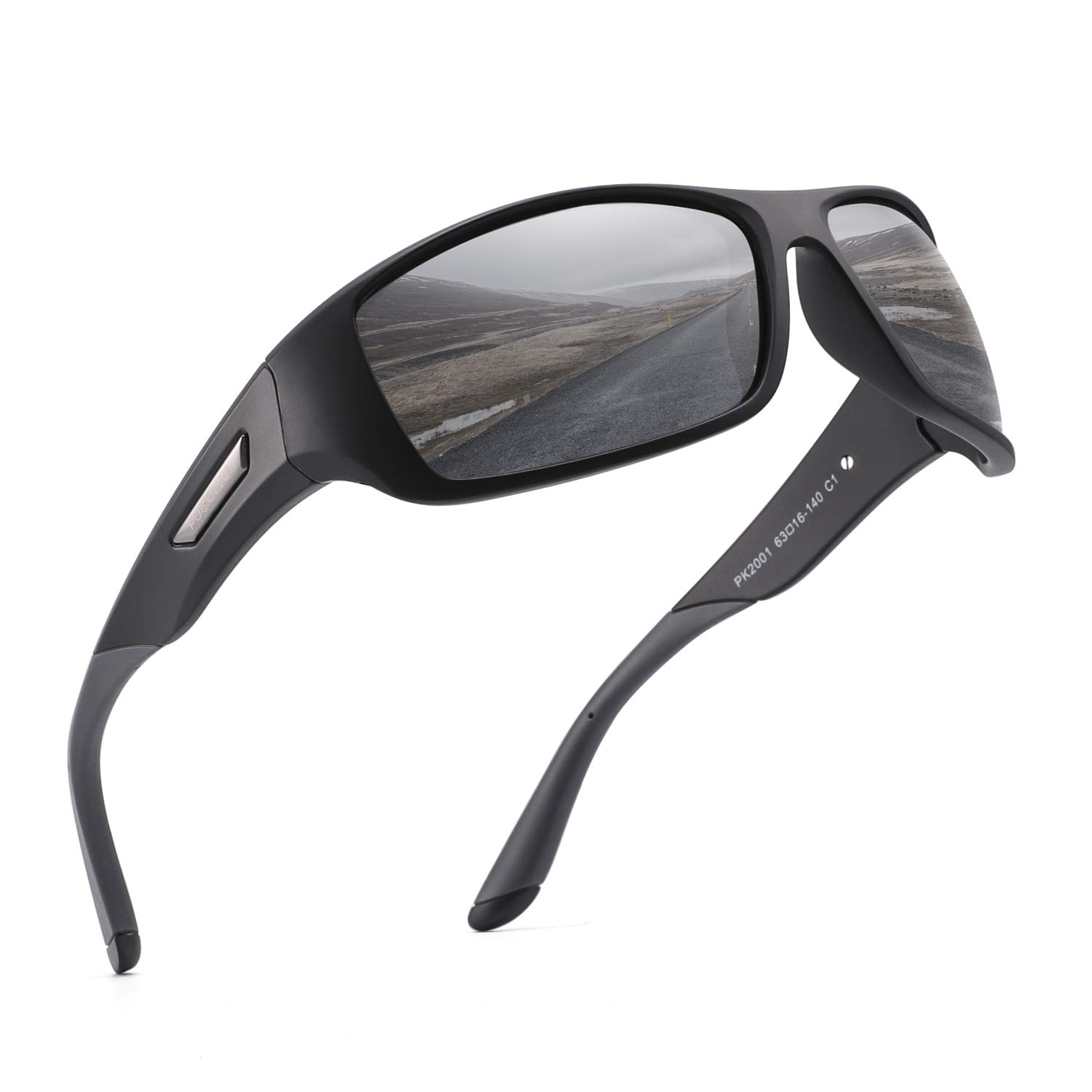 PUKCLAR Polarized Sports Sunglasses for Men Women Driving Sunglasses Cycling Running Fishing Golf Goggles Unbreakable Frame