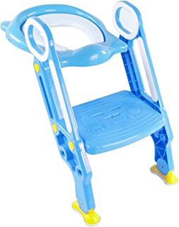 Siège de Toilette Enfant Pliable et Réglable, Reducteur de Toilette Bébé avec Marches Larges, Lunette de Toilette Confortable Matériaux de Haute Qualité (Rose)