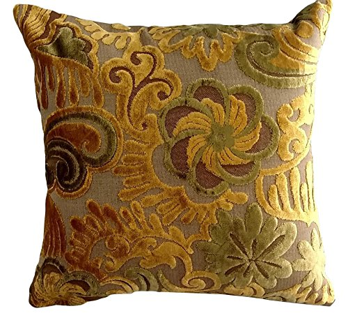 (Tache Home Fashion 1PC-CC-YLGP-01 1 Piece Golden Boughs of Holly Cushion Throw Pillow, Multicolor, 18 x 18