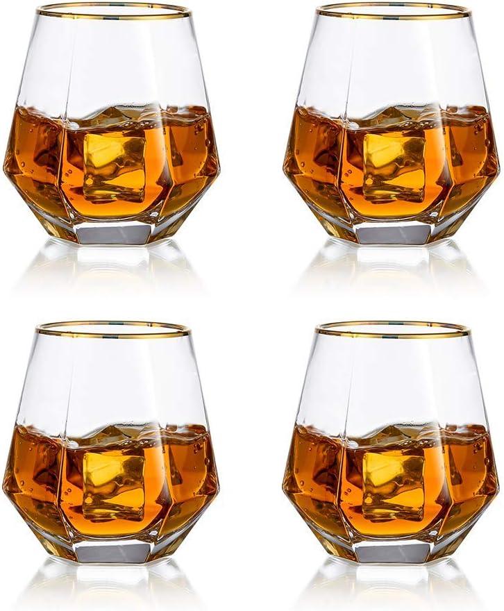 Juego De 4 Vasos De Whisky De Diamante Inclinados, Vaso De Whisky De 300 Ml, Aspecto Moderno para Hombres, Mujeres, Papá, Esposo, Amigos, Cristalería ...