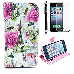 LETOiNG-5SPJ127E Wallet Leather Carrying Case Cover With Credit ID Card Slots/ Money Pockets For iPhone 5/5S Pattern-24